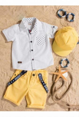 Комплект Bebus белый/желтый с головным убором, размер 36 месяцев