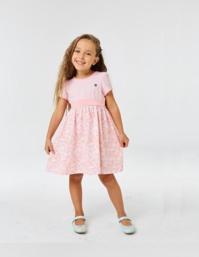 Платье для девочки р.122, бело-розовое с коротким рукавом UMKA