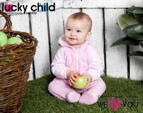 Комбинезон Lucky Child ПОЛОСКИ с капюшоном на молнии (арт.4-13 розовый),размер 24 (74-80)