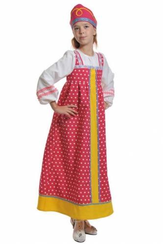 Карнавальный костюм Алёнушка в малиновом (сарафан, кокошник) 5-7 лет