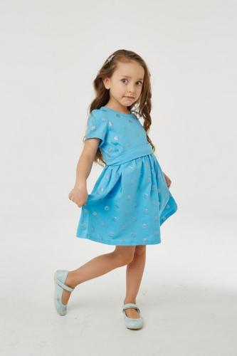 Платье для девочки р.110, голубое в горошек UMKA