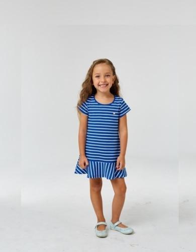 Платье для девочки р.122, бело-синее в полоску UMKA
