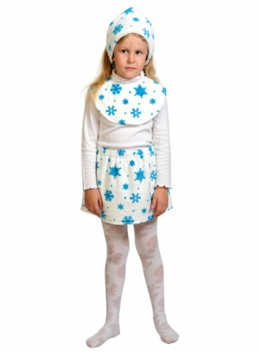 Карнавальный костюм Снежинка Лайт (ободок, юбка, манишка) 3-5 лет