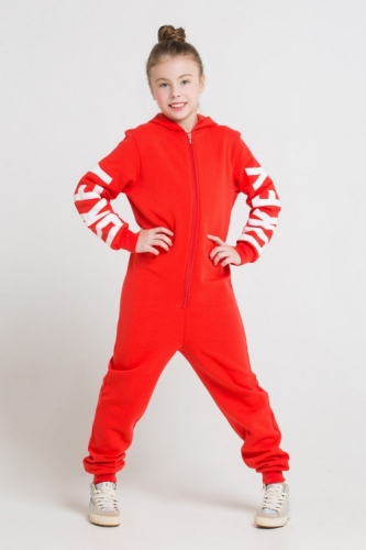 Комбинезон для девочек, Сrockid ярко-красный, размер 146