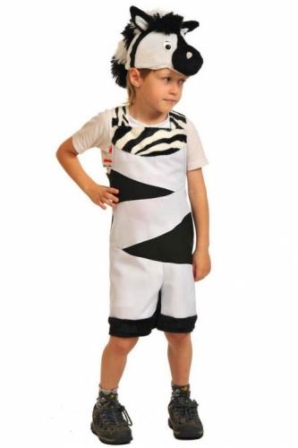 Карнавальный костюм Зебрёнок ткань-плюш (полукомбинезон, маска) 3-6 лет