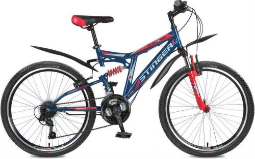 Велосипед Stinger Highlander 150V, синий/красный, рама 24
