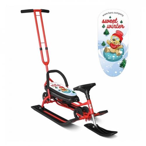 Снегокат Барс SNOWKAT Mobile Sweet Winter c Т-образным толкателем, красная рама - 111