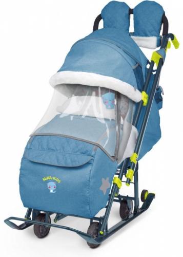 Санки-коляска Nika Ника детям 7-3 в джинсовом стиле, цвет синий