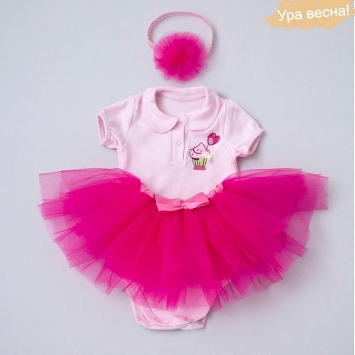 Комплект для девочки Малина весна-осень Крошкин дом р.18 (рост 56-62 см), темно-розовый