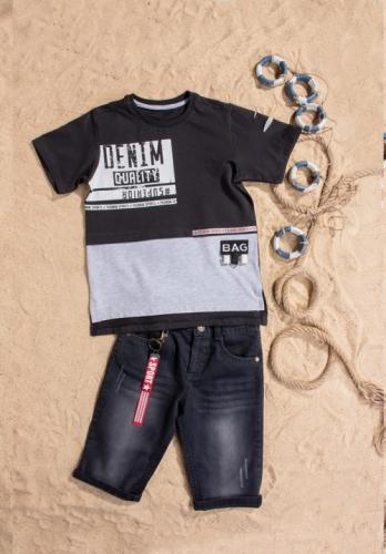 Костюм шорты с футболкой для мальчика, размер 6 лет, черный, Bebus