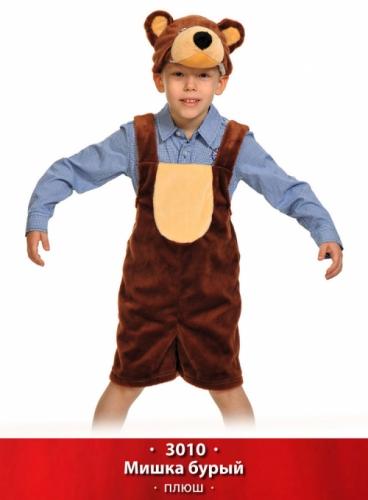 Карнавальный костюм Мишка бурый ткань-плюш (полукомбинезон, маска) 3-6 лет