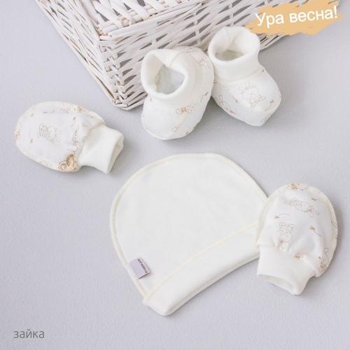 Комплект набор для новорожденного в роддом, демисезонный Крошкин дом зайки