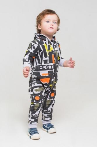 Комбинезон для мальчика, Сrockid манифест на светло-сером, размер 68