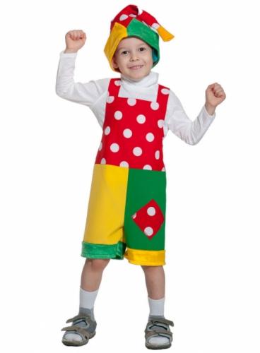 Карнавальный костюм Петрушка ткань-плюш (полукомбинезон, колпак) 3-6 лет