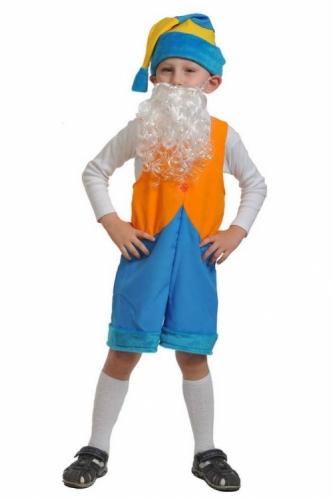 Карнавальный костюм Гномик2, ткань-плюш (полукомбинезон, колпак, борода) 3-6 лет
