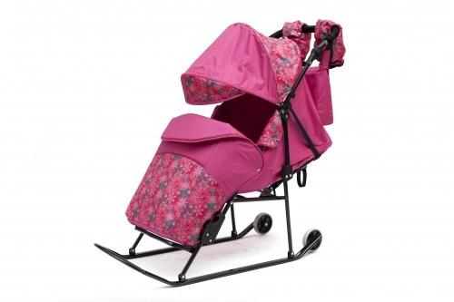 Санки-коляска ABC Academy Зимняя сказка  3В Авто 1516 узор Снежинки, цвет розовый