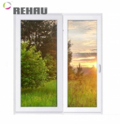 Окно раздвижное Rehau 2100x2000 двухстворчатое ПР800/ЛГ1200 2 стеклопакет