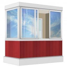 Остекление балкона Алюминиевое Provedal с отделкой вагонкой без утепления 2.4 м Г-образное