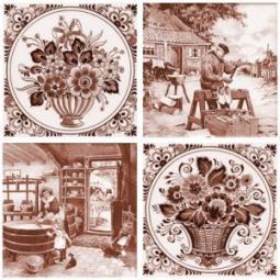 Декор Нефрит-керамика Акварель 04-03-1-14-03-15-136-4 20x20 Коричневый