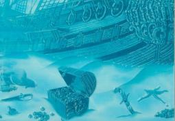 Декор Береза-керамика Лазурь панно корабль 7 бирюзовый 25х35