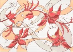 Декор Береза-керамика Капри ирис красный 25x35