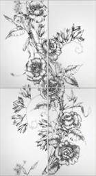 Панно Lasselsberger Азур Цветы белое (комплект 4 шт) 50х90