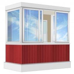 Остекление балкона Алюминиевое Provedal с отделкой вагонкой без утепления 2.4 м П-образное
