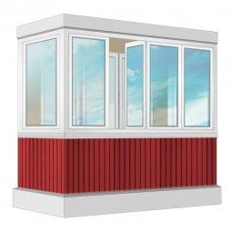Остекление балкона ПВХ Exprof 2.4 м П-образное