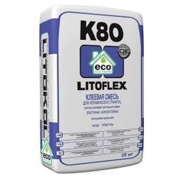 Клей Litokol LITOFLEX K80 ECO морозостойкий беспылевой для керамогранита, плитки из керамики и натурального камня 25 кг