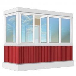 Остекление балкона ПВХ Rehau с отделкой вагонкой с утеплением 3.2 м Г-образное