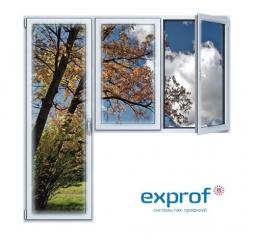 Балконный блок ПВХ Exprof 2100х2100 мм 2-ЛГ-ПП 1 стеклопакет